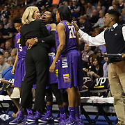 Head coach Heather Macy, East Carolina, is hugged by I'Tiana Taylor,  on the sideline during the Temple Vs East Carolina Quarterfinal Basketball game during the American Women's College Basketball Championships 2015 at Mohegan Sun Arena, Uncasville, Connecticut, USA. 7th March 2015. Photo Tim Clayton