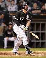 CHICAGO - MAY 30:  Yonder Alonso #17 of the Chicago White Sox hits a home run against the Cleveland Indians on May 30, 2019 at Guaranteed Rate Field in Chicago, Illinois.  (Photo by Ron Vesely)  Subject:  Yonder Alonso