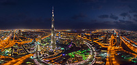 Aerial view of Dubai downtown during the night, UAE
