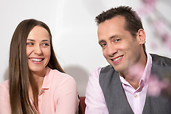 Young couple office romantic flirting smiling