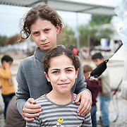 Maha 10 years old and Maran 7 years old from Iraq in Kara Tepe camp in Lesvos, Greece