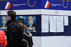 May 3, 2019 - Krakow, Poland - People seen walking past a political advert and information point ahead or the European Parliament elections scheduled for May 23rd to 26th 2019. (Credit Image: © Omar Marques/SOPA Images via ZUMA Wire)