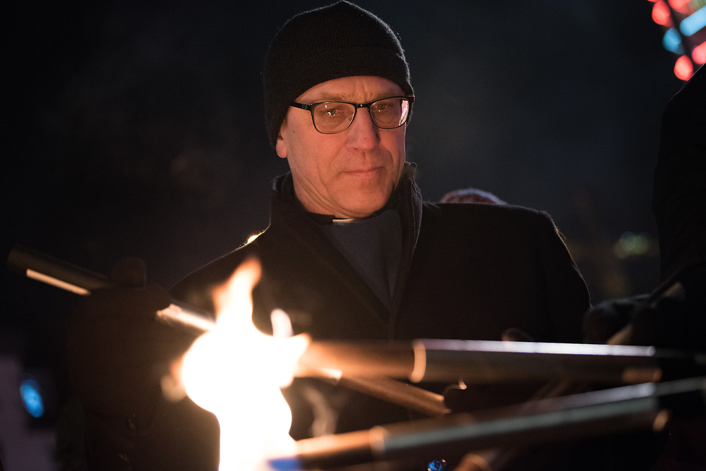 """10 December 2017, Oslo, Norway: In the evening of 10 December some 4,000 people from around the world gathered in central Oslo for a torch light march for peace. The event took place after the Nobel Peace Prize award 2017, awarded to the International Campaign to Abolish Nuclear Weapons (ICAN), for """"its work to draw attention to the catastrophic humanitarian consequences of any use of nuclear weapons and for its ground-breaking efforts to achieve a treaty-based prohibition of such weapons"""". Among the crowd were more than 20 """"Hibakusha"""", survivors of the atomic bombings in Hiroshima and Nagasaki, as well as a range of activists, faith-based organizations and others who work or support work for peace, in one or another way. Here, World Council of Churches general sectretary Rev. Dr Olav Fykse Tveit."""