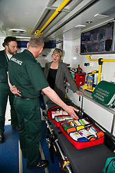 Pictured: <br /> <br /> Health Secretary Shona Robison met paramedics today on a visit to Scottish Ambulance Service's city station where she announced new funding for the service<br /> Ger Harley   EEm 24 April 2017
