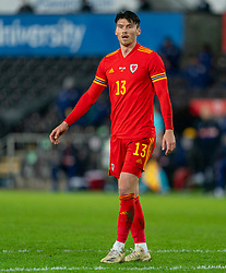 SWANSEA, WALES - Thursday, November 12, 2020: Wales' Kieffer Moore during an International Friendly match between Wales and the USA at the Liberty Stadium. (Pic by David Rawcliffe/Propaganda)