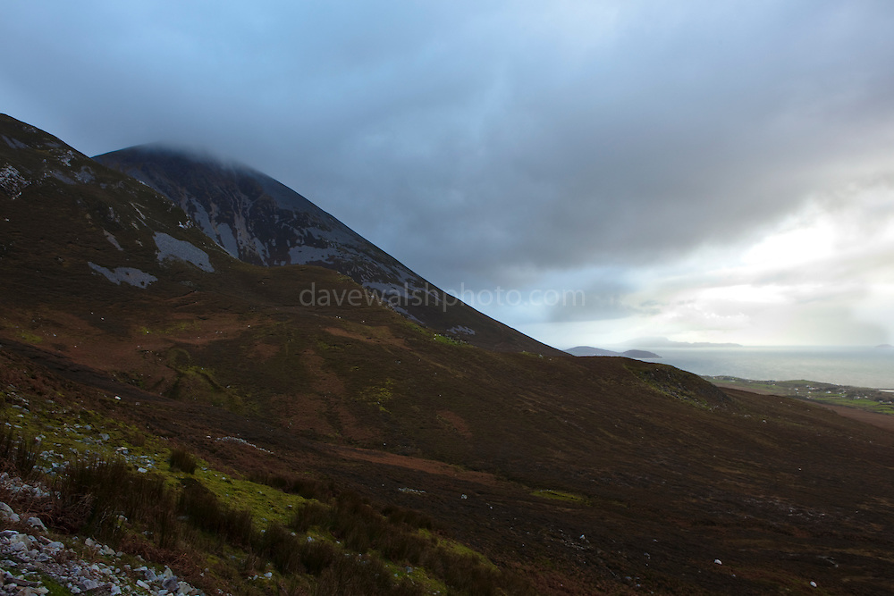 """Croagh Patrick Mountain, Mayo, in the West of Ireland. An important site of pilgrimage, on Reek Sunday"""", the last Sunday in July every year, over 15,000 pilgrims climb it. Croagh Patrick is 764 metres (2,507 ft) high."""
