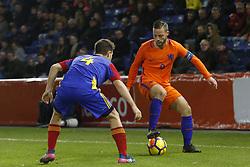 (L-R), Claudi Bove of Jong Andorra, Bart Ramselaar of Jong Oranje during the EURO U21 2017 qualifying match between Netherlands U21 and Andorra U21 at the Vijverberg stadium on November 10, 2017 in Doetinchem, The Netherlands