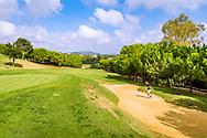 22-10-2018 Almenara Golf Club in Sotogrande, Cádiz, ontworpen door Dave Thomas.<br /> ALMENARA: genoeg uitdaging rond de goede greens. Hole 6 Los Pinos.