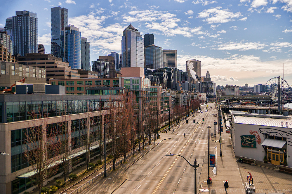 Alaskan Way is Seattle's principal thoroughfare adjacent to the city's Waterfront -- now virtually void of cars, trucks, trains, and cyclists. (April 4, 2020).