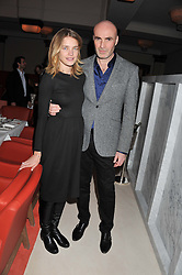 NATALIA VODIANOVA and JASON BROOKS at a private dinner hosted by Lucy Yeomans in honour of Jason Brooks at The Cafe Royal, Regent Street, London on 13th February 2013.