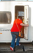 """EXCLUSIVE <br /> White Dee Pictured is Benefits Street star Dee Kelly """" White Dee """" looking at Caravans at Chichester Caravans, Birmingham<br /> ©Exclusivepix"""