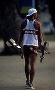 Barcelona, SPAIN. General Views round the boating area, Danish athlete carry oars blades 1992 Olympic Rowing Regatta Lake Banyoles, Catalonia [Mandatory Credit Peter Spurrier/ Intersport Images]