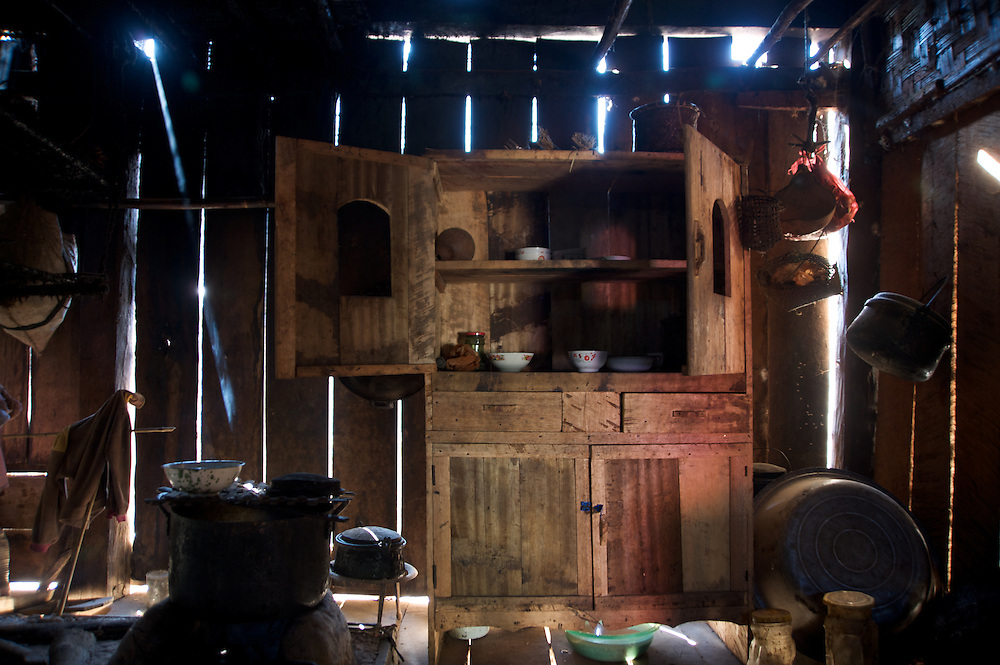 A cupboard inside a village house in Sapa Village, northern Laos.