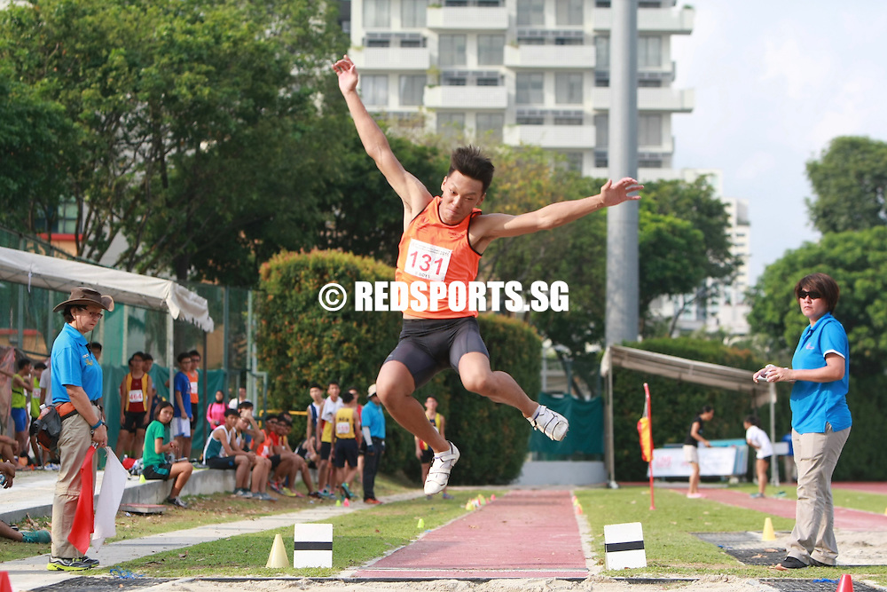 Bishan Stadium, Friday, April 22, 2016 — Yusuf Arsyad of Raffles Institution leapt a huge personal best of 6.68 metres to claim the B Division Boys' long jump gold at the 57th National Schools Track and Field Championships.