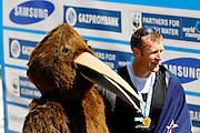 Bled, SLOVENIA.  NZL Mahe DRYSDALE , with Kiwi, 2011 FISA World Rowing Championships, Lake Bled. Saturday  03/09/2011  [Mandatory Credit;  Intersport Images],