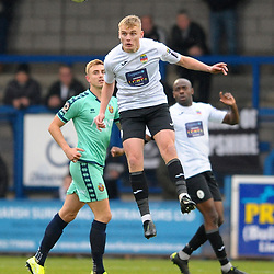 TELFORD COPYRIGHT MIKE SHERIDAN William(Billy) Sass-Davies of Telford (on loan from Crewe Alexandra) heads clear during the Vanarama National League Conference North fixture between AFC Telford United and Spennymoor Town on Saturday, November 16, 2019.<br /> <br /> Picture credit: Mike Sheridan/Ultrapress<br /> <br /> MS201920-030