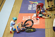Men Keirin, crash Sandor Szalontay (Hungary) and Sergii Omelchenko (Azerbaijan), during the Track Cycling European Championships Glasgow 2018, at Sir Chris Hoy Velodrome, in Glasgow, Great Britain, Day 6, on August 7, 2018 - Photo luca Bettini / BettiniPhoto / ProSportsImages / DPPI<br /> - Restriction / Netherlands out, Belgium out, Spain out, Italy out -