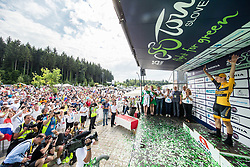 Tadej Pogacar of Ljubljana Gusto Xaurum, best Young rider celebrates during trophy ceremony after the 5th Time Trial Stage of 25th Tour de Slovenie 2018 cycling race between Trebnje and Novo mesto (25,5 km), on June 17, 2018 in  Slovenia. Photo by Vid Ponikvar / Sportida