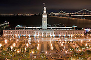A night picture of the Embarcadero in San Francisco, California.