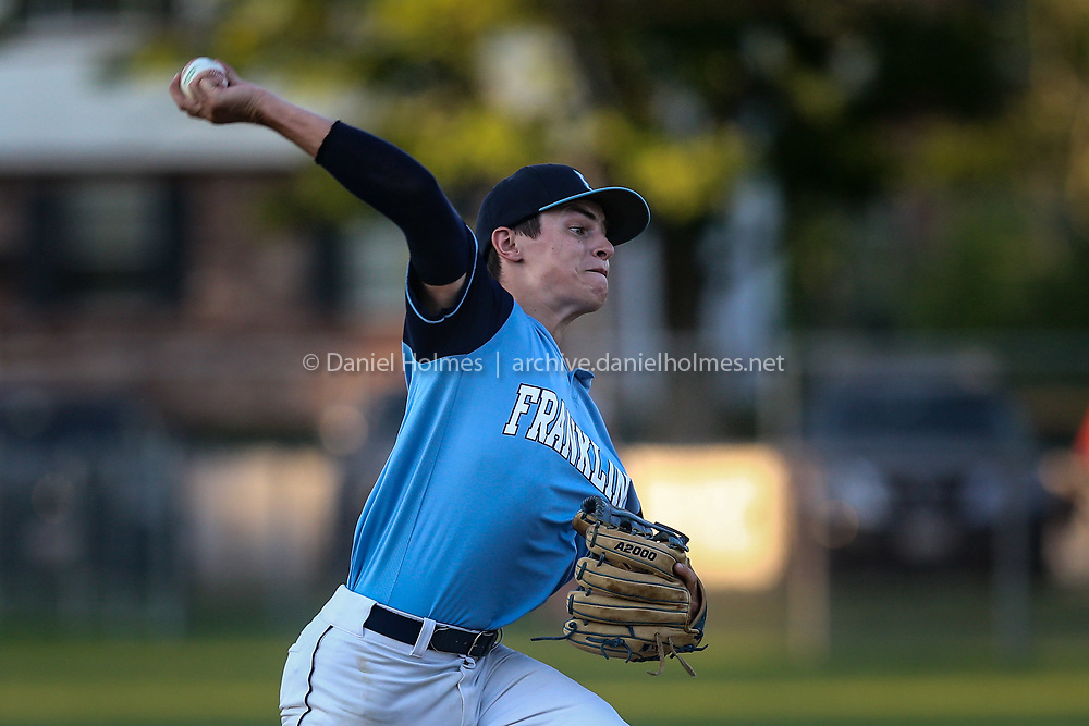 Franklin's Jake Blaney delivers a pitch during the Senior Babe Ruth game against Framingham at Bowditch Field, on Jul. 21, 2020. [Daily News and Wicked Local Photo/Dan Holmes]