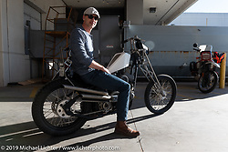 Main Drive Cycles' Cory Herbert with his Spacechopper custom 1996 Harley-Davidson Sportster at the Handbuilt Show. Austin, Austin USA. Sunday, April 14, 2019. Photography ©2019 Michael Lichter.
