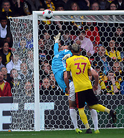 Football - 2019 / 2020 Premier League - Watford vs. Sheffield United<br /> <br /> Watford goalkeeper , Ben Foster makes a finger tip save in the first half, at Vicarage Road.<br /> <br /> COLORSPORT/ANDREW COWIE