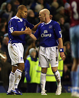 Photo: Paul Thomas.<br /> Everton v West Ham United. The Barclays Premiership. 03/12/2006.<br /> <br /> Goal scorer James Vaughan (L) of Everton gets a congratulation from Andy Johnson.
