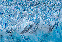 NATIONAL PARK LOS GLACIARES, ARGENTINA - CIRCA FEBRUARY 2019: Close up of the Glacier Perito Moreno, a famous landmark within the Los Glaciares National Park in Argentina