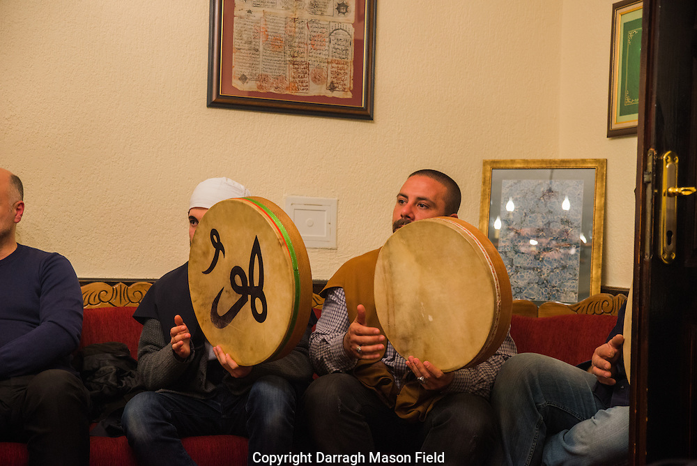 Sufi's play flat drums after the Zikr