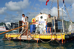 06 April 2011. St Maarten, Antilles, Caribbean.<br /> Crew of the Antiki arrive in the islands following their epic 9 week trans-Atlantic raft voyage from the Canary islands. <br /> L/R; David Hildred, sailing master and British Virgin Islands resident, John Russell, solicitor and UK resident.<br /> Photo; Charlie Varley/varleypix.com