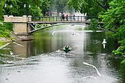 Rowboat in the Canal in Bastejkalna park, Riga, Latvia