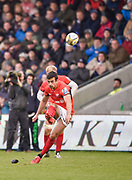 Saracens fly-half Alex Lozowski converts a penalty during the Aviva Premiership match Sale Sharks -V- Saracens at The AJ Bell Stadium, Salford, Greater Manchester, England on November  20  2016. (Steve Flynn/IOS via AP)
