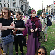 Hundreds attends a rally for Grenfell Memorial demand justice on 19th June 2017 at Parliament Square, London, UK.