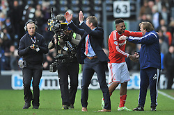 Nottingham Forest Manager, Stuart Pearce applauds the fans at the end of the game - Photo mandatory by-line: Dougie Allward/JMP - Mobile: 07966 386802 - 17/01/2015 - SPORT - Football - Derby - iPro Stadium - Derby County v Nottingham Forest - Sky Bet Championship