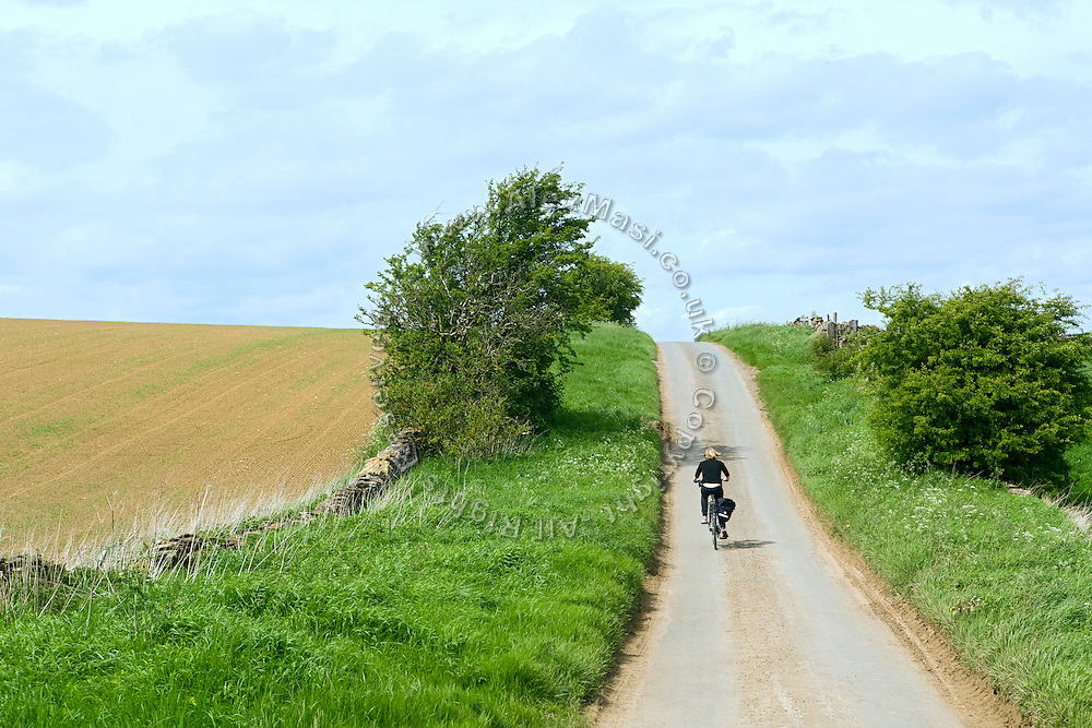 A woman is cycling near Rievaulx, Yorkshire, England, United Kingdom.