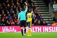 Hector Bellerín (24) of Arsenal is shown a yellow card for a foul on Ryan Fraser of AFC Bournemouth during the Premier League match between Bournemouth and Arsenal at the Vitality Stadium, Bournemouth, England on 3 January 2017. Photo by Graham Hunt.