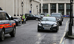 **VIDEO AVAILABLE HERE: http://tinyurl.com/h4org96 CALL TO AGREE FEES** <br /> © Licensed to London News Pictures. 09/01/2017. London, UK. Still images taken form video showing Prime Minister Theresa May's convoy taking a wrong turn in to a dead end and having to perform a u-turn. The error was made turning down Carlton House Terrace, while travelling to make a speech on mental health care. Photo credit: Peter Macdiarmid/LNP