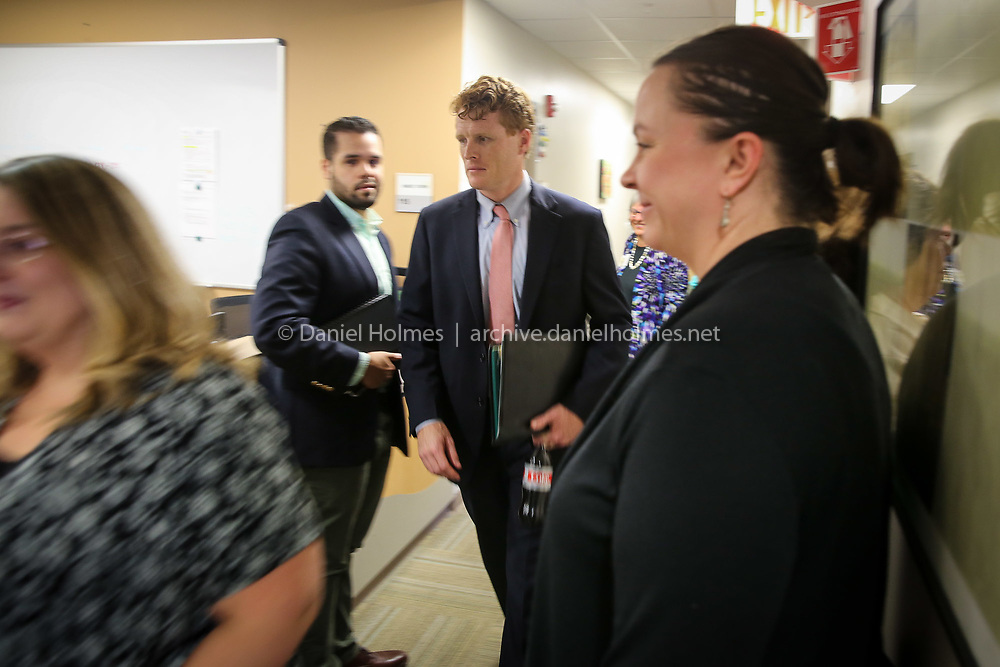 (8/6/18, MILFORD, MA) Massachusetts Congressman Joe Kennedy III, D-4th, tours the Edward M. Kennedy Community Health Center, named in honor of his great uncle, in Milford on Monday. [Daily News and Wicked Local Photo/Dan Holmes]