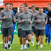 NLD/Katwijk/20110808 - Training Nederlands Elftal voor duel Engeland - Nederland, Dirk Kuyt, Klaas Jan Huntelaar, Nigel de Jong, Rafael van der Vaart, Wesley Sneijder