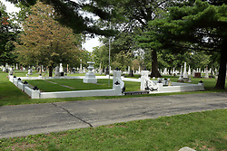 26 August 2017:   A part of the History of McLean County Illinois.<br /> <br /> Tombstones in Evergreen Memorial Cemetery.  Civic leaders, soldiers, and other prominent people are featured. Civil War Veterans Section.