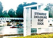Henley on Thames, England, 1999 Henley Royal Regatta, River Thames, Henley Reach,  [© Peter Spurrier/Intersport Images], Henley Regatta Signs indicating, The Stewards Boat Dock,