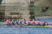 Mortlake/Chiswick, GREATER LONDON. United Kingdom. Marlow Rowing Club/Cantabrigian Rowing Club, W.MasC.8+, competing in the 2017 Vesta Veterans Head of the River Race, The Championship Course, Putney to Mortlake on the River Thames.<br /> <br /> <br /> Sunday  26/03/2017<br /> <br /> [Mandatory Credit; Peter SPURRIER/Intersport Images]