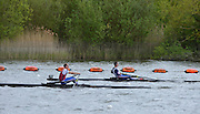 Reading. United Kingdom. GBR LM1X  semi final A/B,  left Peter and right Richard CHAMBERS.   2014 Senior GB Rowing Trails, Redgrave and Pinsent Rowing Lake. Caversham.<br /> <br /> 14:34:13  Saturday  19/04/2014<br /> <br />  [Mandatory Credit: Peter Spurrier/Intersport<br /> Images]