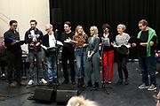 Sitzprobe Charley de Musical ( eerste repetitiedag met orkest )<br /> <br /> Op de foto:  Jon van Eerd , Vera Mann , Anne-Mieke Ruyten , Hugo Haenen , Laus Steenbeeke , Job Bovelander , Jonathan Demoor , Aimee de Pater en Priscilla Knetemann