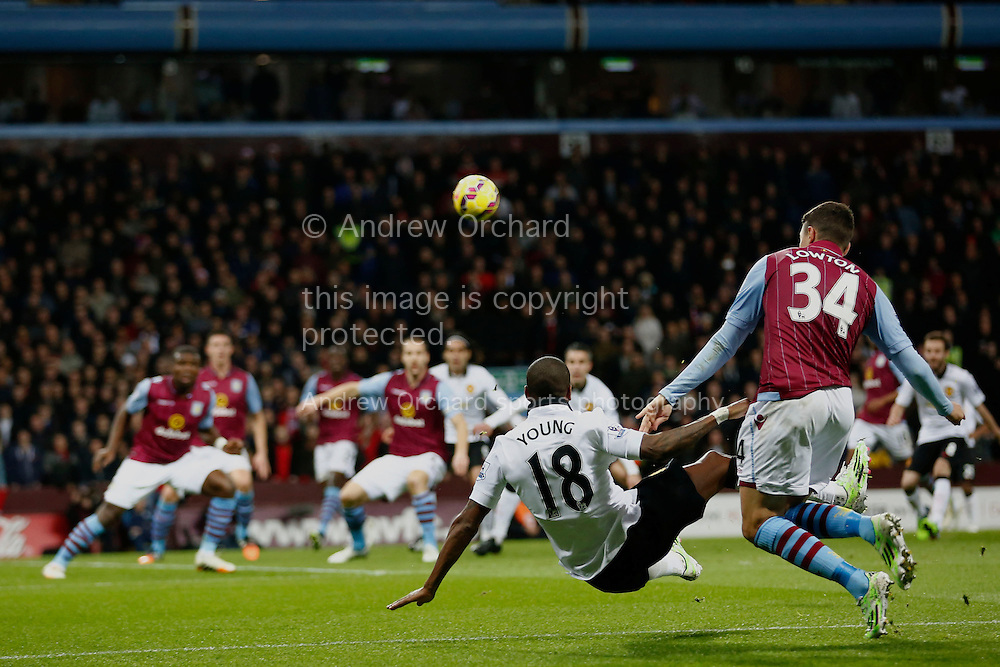 Ashley Young of Manchester United delivers the cross from which Radamel Falcao scores. Barclays Premier league match, Aston Villa v Manchester Utd at Villa Park in Birmingham on Saturday 20th December 2014<br /> pic by Mark Hawkins, Andrew Orchard sports photography.