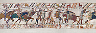 11th Century Medieval Bayeux Tapestry - Scene 56 -  Harold army is cut down. Battle of Hastings 1066. .<br /> <br /> If you prefer you can also buy from our ALAMY PHOTO LIBRARY  Collection visit : https://www.alamy.com/portfolio/paul-williams-funkystock/bayeux-tapestry-medieval-art.html  if you know the scene number you want enter BXY followed bt the scene no into the SEARCH WITHIN GALLERY box  i.e BYX 22 for scene 22)<br /> <br />  Visit our MEDIEVAL ART PHOTO COLLECTIONS for more   photos  to download or buy as prints https://funkystock.photoshelter.com/gallery-collection/Medieval-Middle-Ages-Art-Artefacts-Antiquities-Pictures-Images-of/C0000YpKXiAHnG2k