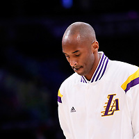 23 November 2014: Los Angeles Lakers guard Kobe Bryant (24) warms up prior to the Los Angeles Lakers season game versus the Denver Nuggets, at the Staples Center, Los Angeles, California, USA.