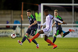 BANGOR, WALES - Saturday, November 12, 2016: Wales' Cameron Coxe in action against England's Ryan Sessegnon during the UEFA European Under-19 Championship Qualifying Round Group 6 match at the Nantporth Stadium. (Pic by Gavin Trafford/Propaganda)