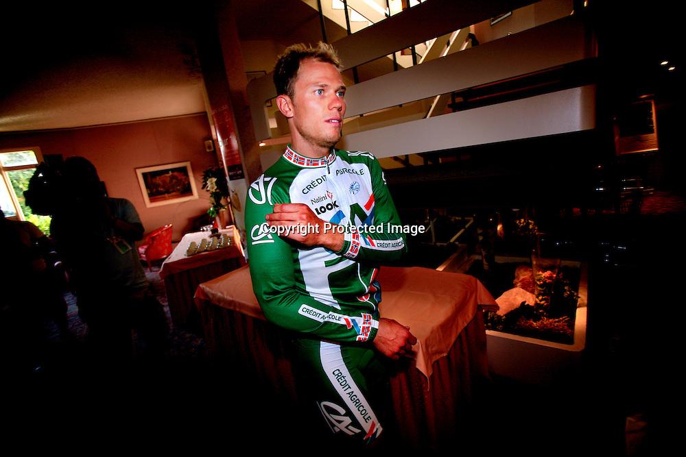 20060602. Strasbourg. Thor Hushovd ble skadet i innspurten på den første etappen i Tour de France...Foto: Daniel Sannum Lauten/ Dagbladet....  *** Local Caption *** Hushovd,Thor