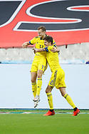 Viktor Claesson (SWE) scored a goal and celebration in arms of Mikael Lustig (SWE) during the UEFA Nations League football match between France and Sweden on November 17, 2020 at Stade de France in Saint-Denis, France - Photo Stephane Allaman / ProSportsImages / DPPI